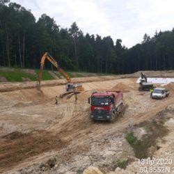 Zbiornik retencyjny nr 3 km 2+180 - układanie warstw konstrukcyjnych