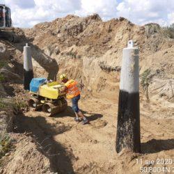 zagęszczanie zasypki fundamentów pod słup linii 220kV km 8+000