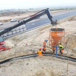 Betonowanie ławy fundamentowej pod umocnienie stożka WD-7 km 5+178