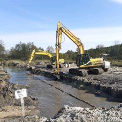 Prace przy umocnieniu koryta rzeka Sanna 13+633