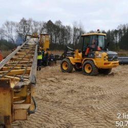 Mobilizacja sprzętu do wykonywania kolumn żwirowych - rejon doliny rzeki Sanna