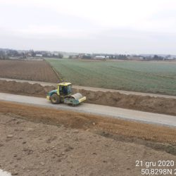 Zagęszczanie podbudowy z kruszywa, droga technologiczna 4+600